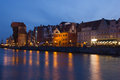 Night view over the river motlawa the old town in gdansk poland Royalty Free Stock Photography