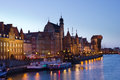 Night view over the river motlawa the old town in gdansk poland Stock Image