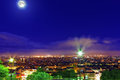 Night view of paris from the hill montmartre france Stock Image