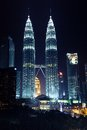 Night view of Petronas Twin Towers, Kuala Lumpur Royalty Free Stock Photo