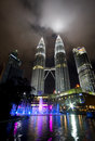 Night view of the Petronas Twin Towers in Malaysia Royalty Free Stock Images
