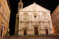 A night view of pienza italy cathedral near siena tuscany Royalty Free Stock Photos