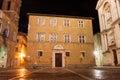 A night view of pienza italy cathedral near siena tuscany Royalty Free Stock Photo