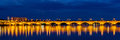 Night view of Pont de pierre in Bordeaux - France Royalty Free Stock Photo