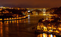 Night view of porto city and douro river panoramic portugal Royalty Free Stock Photography