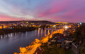 Night view of the prague castle and railway bridge over vltava/moldau river in prague taken from the top of vysehrad castle Royalty Free Stock Photo