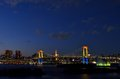 Night view of the Rainbow Bridge. Royalty Free Stock Images