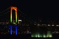 Night view of the Rainbow Bridge. Stock Photos