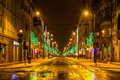 Night view of rd may street in katowice silesia region poland on january the most prestigious avenue in town full many shops Royalty Free Stock Images