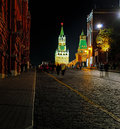 Night view of the red square and spasskaya tower moscow kremlin pavement from a cobblestone Stock Photos