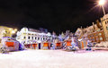 Night view at riga latvia in christmas time livu square with market a heart of old with russian theater of drama a background Stock Image