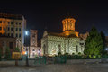 Night view of saint anton church the old princely court church considered oldest in bucharest romania built in Stock Images