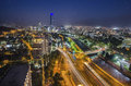 Night view of Santiago de Chile toward the east part of the city, showing the Mapocho river and Providencia and Las Condes distric Royalty Free Stock Photo