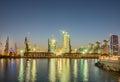 The night view of sea port in baku azerbaijan Royalty Free Stock Photo