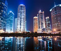 Night view of shanghai financial center district Royalty Free Stock Images
