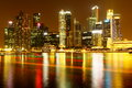 Night view of singapore cbd Royalty Free Stock Photo