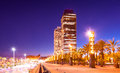 Night view of skyscrapers at barcelona in port olimpic center nightlife Stock Image