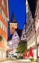 Night view of small Bavarian town center Royalty Free Stock Photo