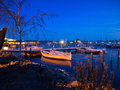 Night view of small marina Royalty Free Stock Photography