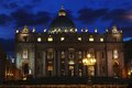 Night view at St. Peter's cathedral Vatican city in Rome, Italy Royalty Free Stock Photo