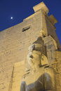 Night view of the statue of Ramses II Royalty Free Stock Photo