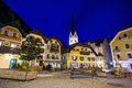 Night view of a street with christuskirche church bell tower in hallstatt austria Royalty Free Stock Photography