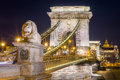 Night view of the Szechenyi Chain Bridge. Budapest, Hungary. Royalty Free Stock Photo