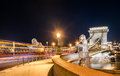 Night view of the Szechenyi Chain Bridge in the Bupapest, Hungary. Royalty Free Stock Photo