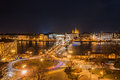 Night View of the Szechenyi Chain Bridge and church St. Stephen's Basilica in Budapest Royalty Free Stock Photo