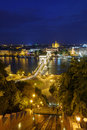 Night view of the Szechenyi Chain Bridge over Danube River and c Royalty Free Stock Photo