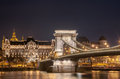 Night view of the Szechenyi Chain Bridge on the River Danube in Budapest Royalty Free Stock Photo