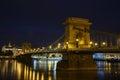 Night view of the Szechenyi Chain Bridge is a suspension bridge. Royalty Free Stock Photo