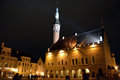 Night view of tallinn city on november is the capital estonia and has more than inhabitants Stock Photography