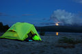 Night view of the tent near a mountain lake russia hibiny Royalty Free Stock Image