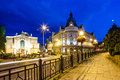 Night view on the theater and main post office in bielsko biala poland august street Royalty Free Stock Photos