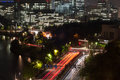 Night view on Tokyo centre near Imperial Palace Royalty Free Stock Photo