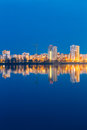Night View Of Urban Residential Area Overlooks To City Lake Or River Royalty Free Stock Photo