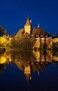 Night view of Vajdahunyad castle in Budapest