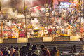 Night view of varanasi from india may hindu people wash themselves in the river ganga in the holy city the holy ritual washing is Royalty Free Stock Photo