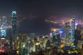 Night View of Victoria Harbour, Hong Kong Royalty Free Stock Photo