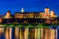 A night view of Wawel castle Royalty Free Stock Photo