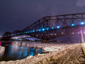 Night view winter quebec city bridge longest cantilever bridge built Stock Images