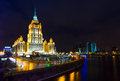 Night views of moscow legendary skyscrapers of stalin building the hotel radisson royal formerly known as the hotel ukraine refers Royalty Free Stock Images