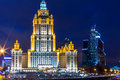 Night views of moscow legendary skyscrapers of stalin building the hotel radisson royal formerly known as the hotel ukraine refers Stock Image