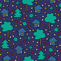 Night village seamless pattern cute Royalty Free Stock Images