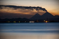 Night volcano eruption of the vulcano at kamchatka Royalty Free Stock Photos