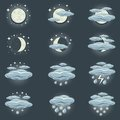 Night weather icon a collection of icons that show Stock Images