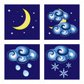 Night weather icons Stock Image