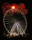 Night Wheel with Fireworks Stock Photos