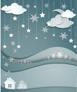 Night winter background of snowflakes trees house stickers Royalty Free Stock Photo